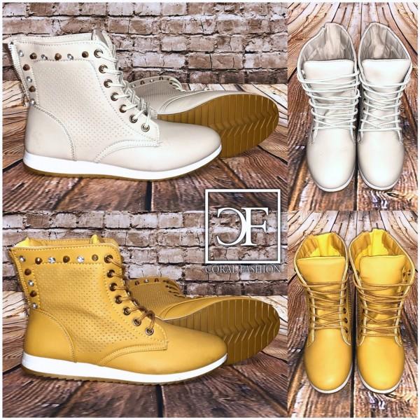 Highcut Sneakers / Sportschuhe mit Strass & Nieten