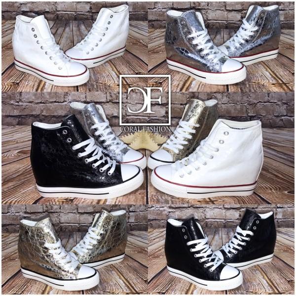 ITALY Style Keilsneakers / Sneakers mit Keil Absatz in 4 Farben