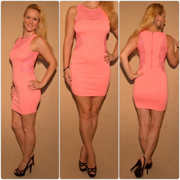 Mini Kleid mit Spitzeneinsätzen LACHS