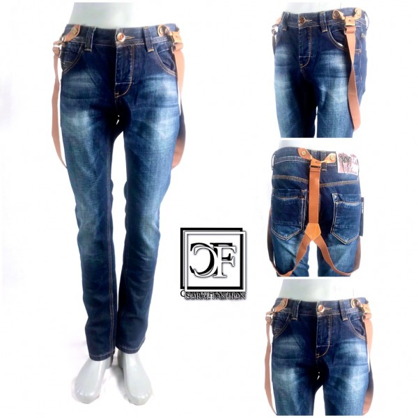 HERREN Men Fashion DENIM JEANS Hose mit abnehmbaren Hosenträgern Blau