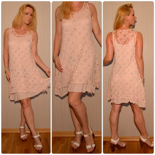 Schönes zwei teiliges Kleid mit KETTEN Muster ROSA