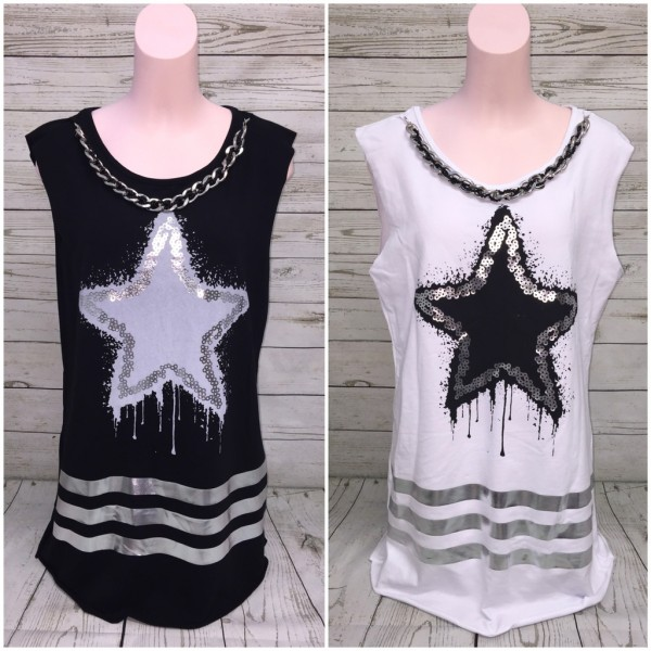 ITALY SWEAT Longshirt / Shirt mit Big STAR print & KETTE