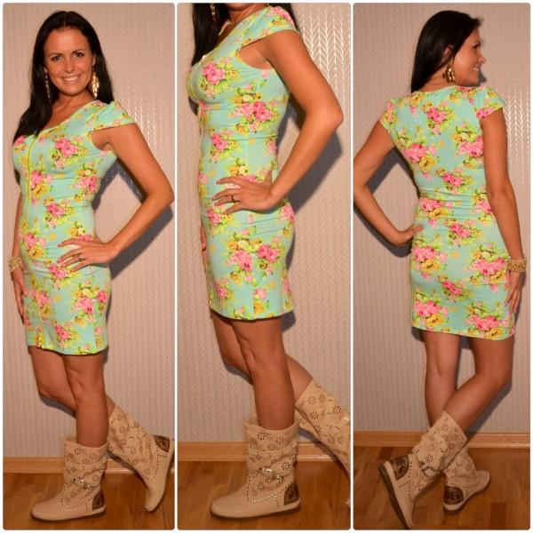 Kurzes geblümtes Kleid mit Zipverschuss HELLTÜRKIS