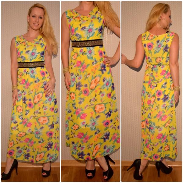 Atemberaubendes langes Blumen-Kleid mit Nietenbund GELB