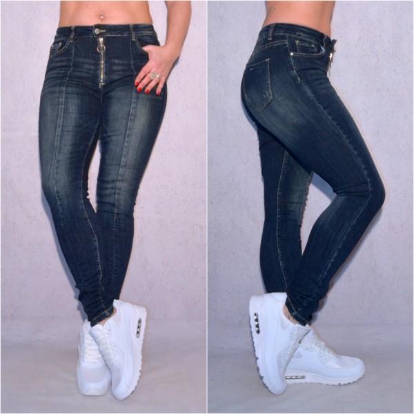 Fashion Damen stretch Denim JEANS Hose mit Zippverschluss Blau