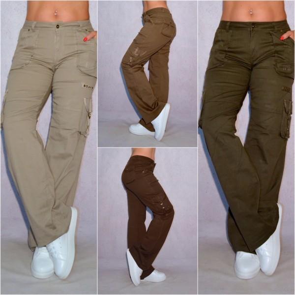 Stretch Damen Cargohose sportliche Hose mit coolen Seitentaschen (Größen beachten!)