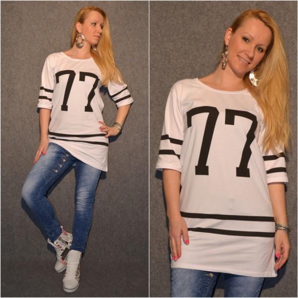 Number 77 lockere Tunika / Longshirt WEISS