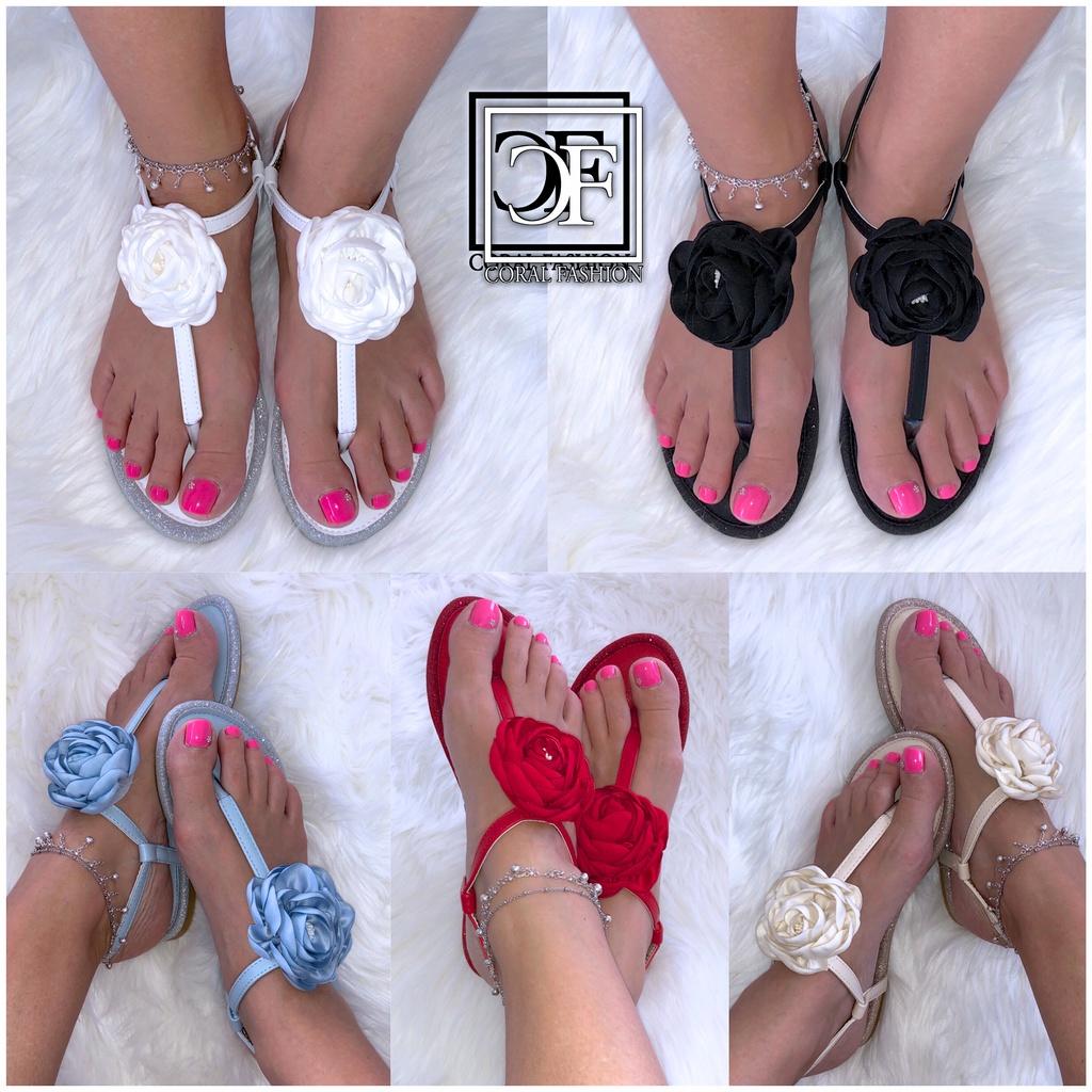 Damen Zehentrenner Sandalen Sandaletten mit großer Seiden BLUME