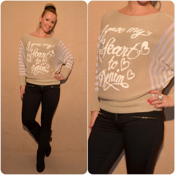Stylischer Strickpullover mit I GAVE MY HEART TO DENIM print BEIGE