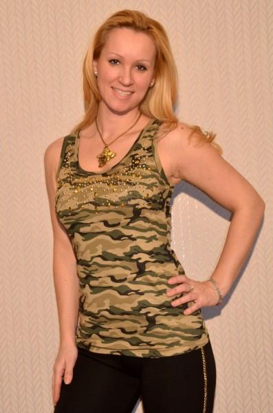 Camouflage Tanktop mit Nieten besetzt BEIGE / GRÜN
