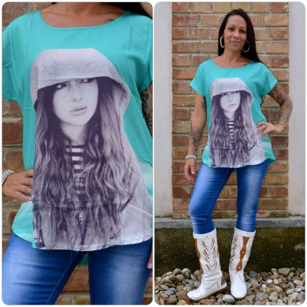 Stylisches Shirt Modell: BEAUTIFUL Kapuzen Lady GRÜN