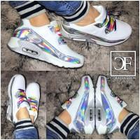 RAINBOW AIR Sportschuhe / Sneakers in HOLO Weiß Mix + 1 Paar GRATIS Schnürsenkel in weiß