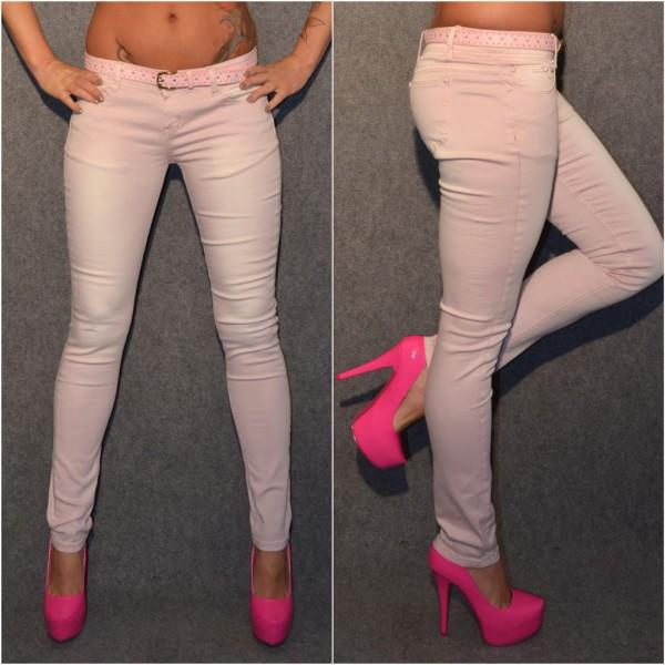 Fashion stretch Jeans Hose mit Gürtel HELLROSA
