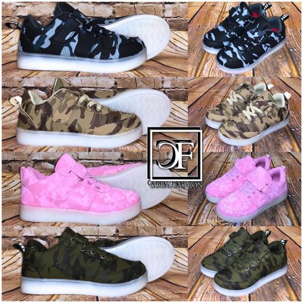 KINDER Lowcut Sportschuhe Sneakers mit Klettverschluss CAMOUFLAGE