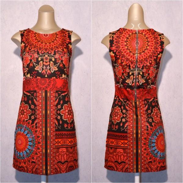 Fashion stretch Kleid / Sommerkleid mit Blumen Muster & Strass ROT / Schwarz