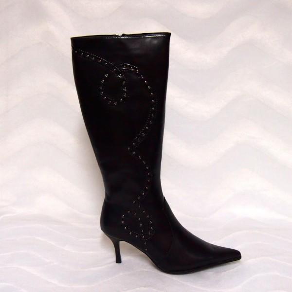 Eleganter Stiefel mit Zipp auf der Innenseite SCHWARZ
