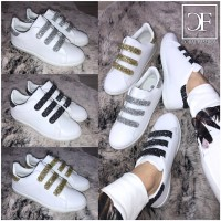Flache LOW CUT Klett Sportschuhe / Sneakers mit GLITZER (Damen & Kinder)