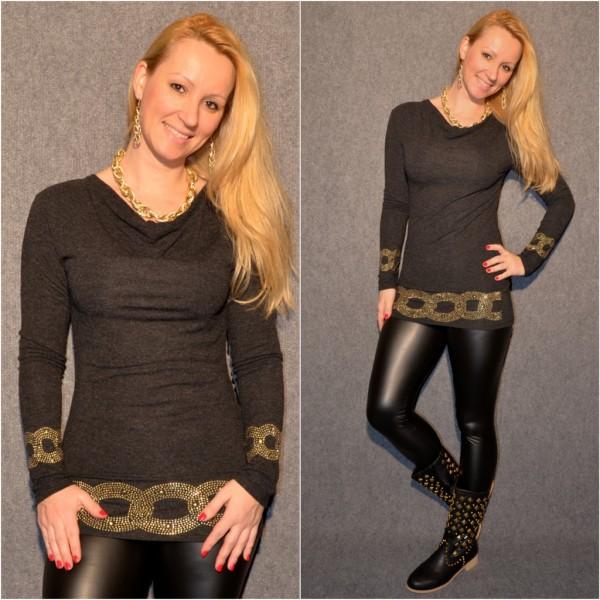 Ausgefallenes Shirt mit goldenen Nieten SCHWARZ / GRAU