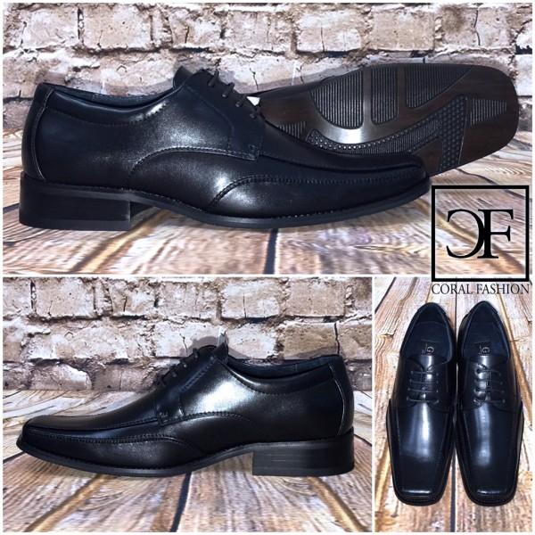 Elegante / festliche HERREN Schuhe mit 4 fach Schnürung innen Leder SCHWARZ
