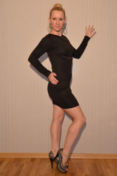 Langarm Kleid mit Spitzeneinsatz SCHWARZ