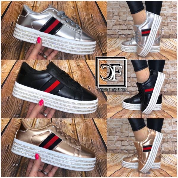 Fashion Damen PLATEAU Stripe Sportschuhe Sneakers mit Bling STRASS