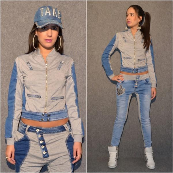 Coole Jeans / Jersey JACKE grau / blau
