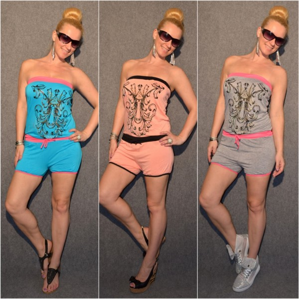 """Jersey Bandeau Shorty Overall """"Strass / Tribal"""""""