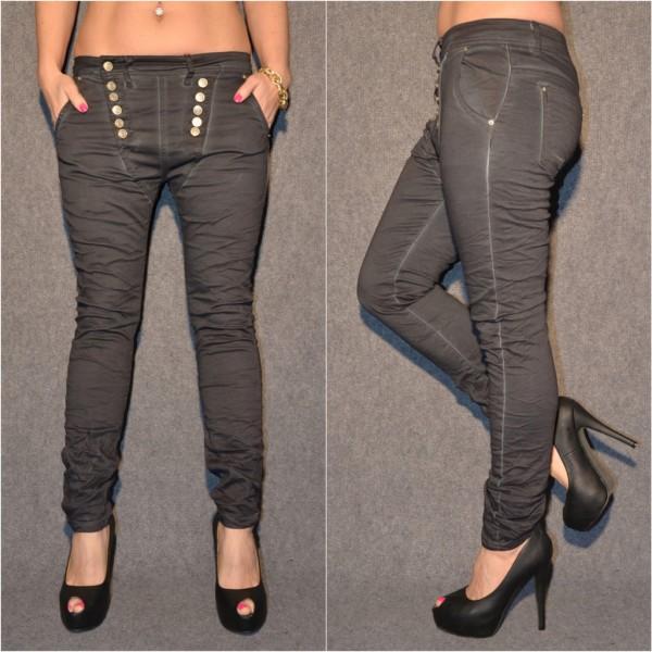 Ausgefallene Harems Jeans mit DOUBLE Knöpfen SCHWARZ