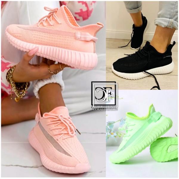 Bequeme Damen Stretch Knit Sportschuhe Sneakers in 3 Farben