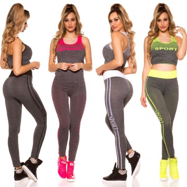 Damen Workout Sport Fitness Outfit Set 2 Teiler Leggings + Tanktop Top SPORT