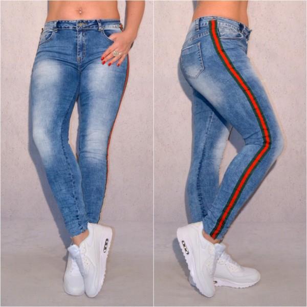 Damen FASHION stretch JEANS Denim Hose mit seitlichem Streifen in Grün / Rot