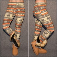 Super warme Winter Leggings mit WINTERMOTIV * ORANGE