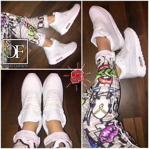 Coole UNISEX Highcut LUFT Sportschuhe / Sneakers WEISS