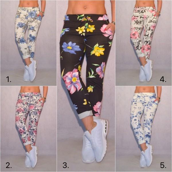 Damen Jersey Freizeithose Hose mit Blumen Muster ITALY FASHION Trend
