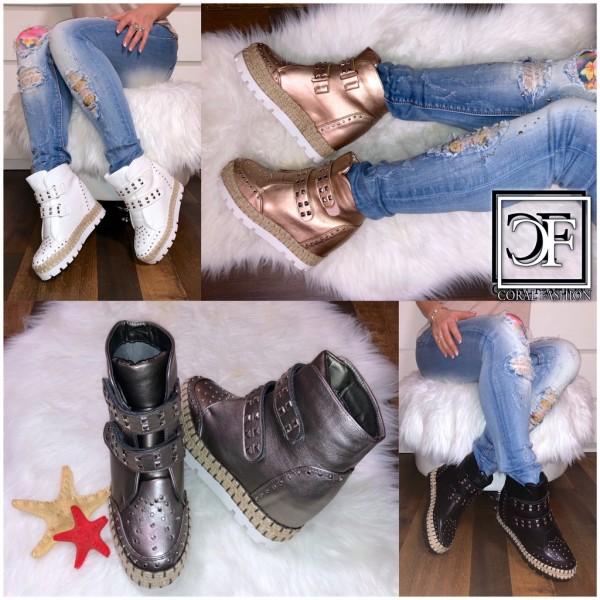 Damen High Cut Keil Sportschuhe / Sneakers Keilabsatz Wedge mit Klettverschluss & Nieten