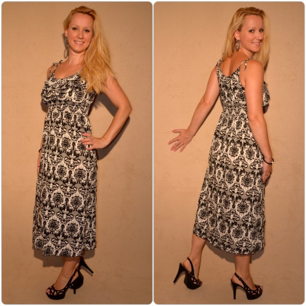 Halblanges Kleid mit sommerlichem Muster WEISS / SCHWARZ