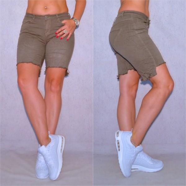 Sexy Damen stretch Jeans Bermuda Shorts Denim Hose asymmetrisch STAR Olivgrün