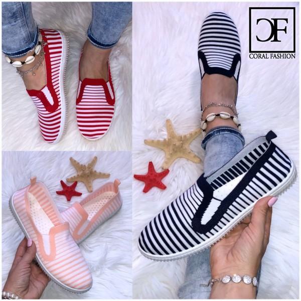 """Bequeme Damen JERSEY Textil Slip On Sneakers Ballerinas """"super LEICHT & biegsam"""" gestreift"""