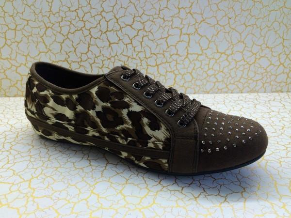 Lowcut Sneakers mit Glitzersteinchen LEOPARD