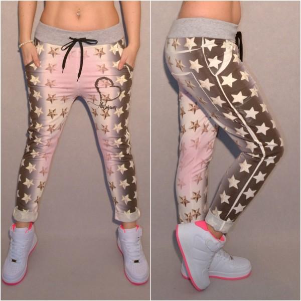 Italy Sweathose mit FASHION STARS print weiß/grau/rosa