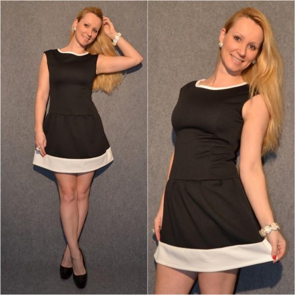 ITALY Kleid SCHWARZ / weiß