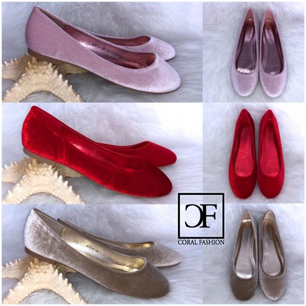 Klassische SAMT Ballerinas / Slip On Schuhe in 3 Farben