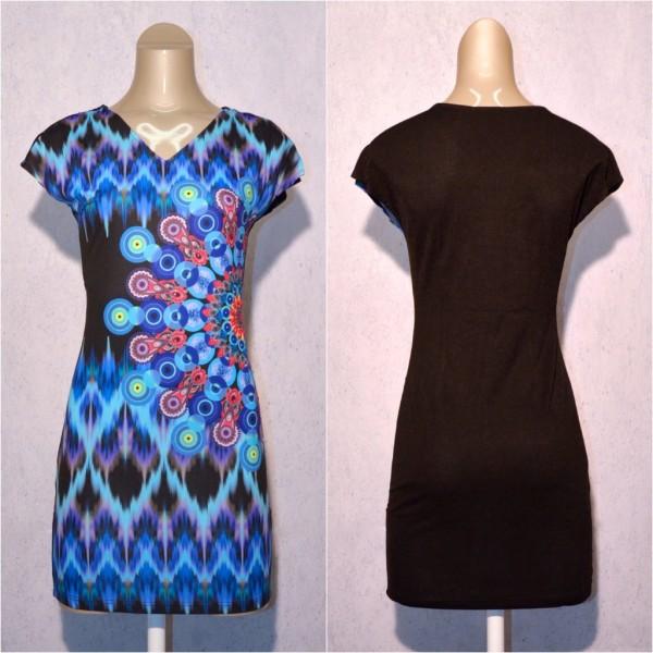 Fashion stretch Kleid / Sommerkleid mit Blumen Muster & Strass BLAU