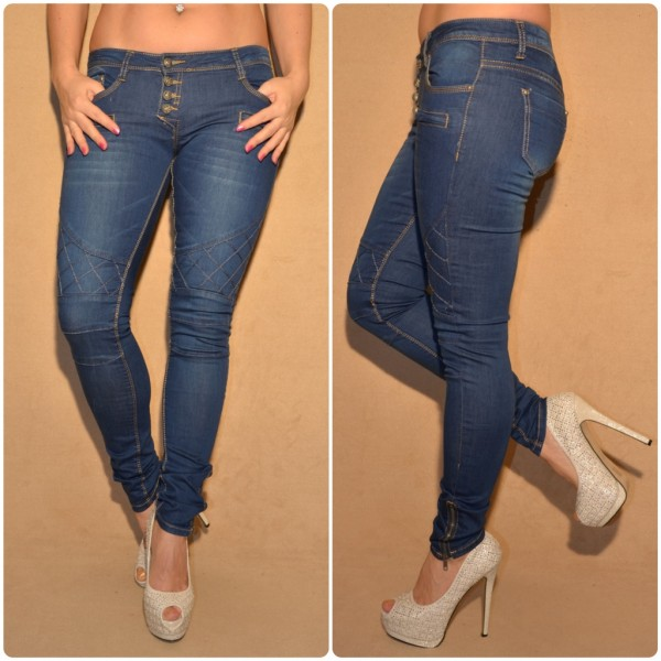 Fashion stretch JEANS mit Steppmuster BLAU