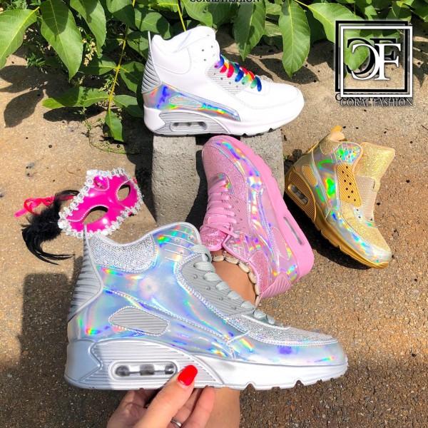 Highcut HOLO glanz LUFT Damen Sportschuhe / Sneakers mit Rainbow GLITZER