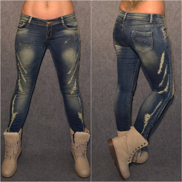 DESTROYED Look stretch Jeans mit Strass