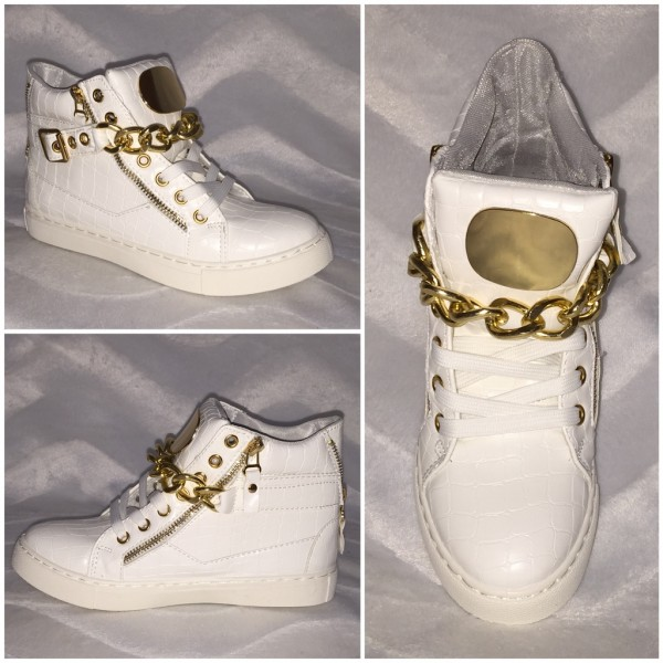 ITALY Style Sneakers mit goldener KETTE WEISS