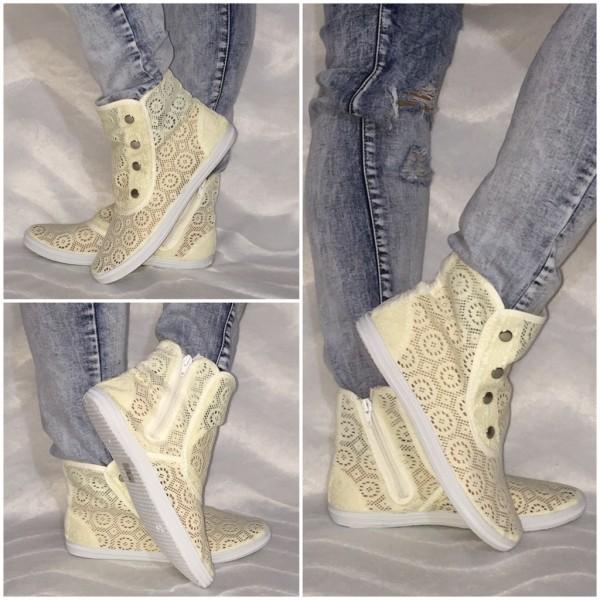 NETZ Sneakers mit Druckknöpfen BEIGE
