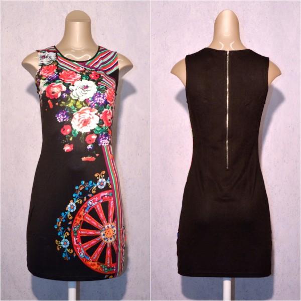 Fashion stretch Kleid / Sommerkleid mit Blumen Muster SCHWARZ