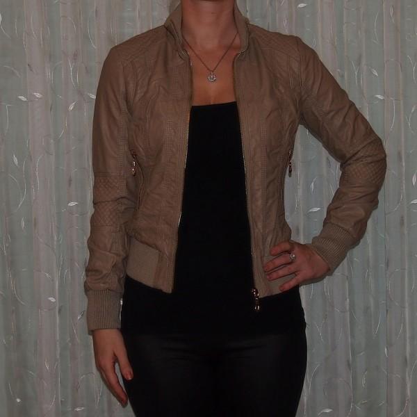 Damen Übergangsjacke in Leder Optik BRAUN